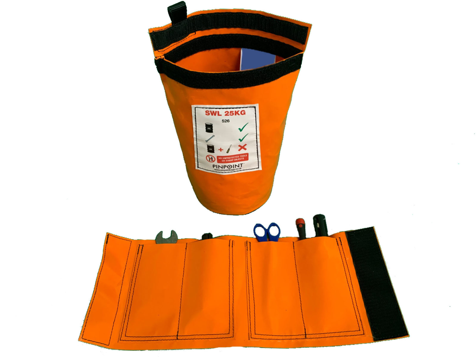 Small Round Based tool bag (STB25) shown in orange.